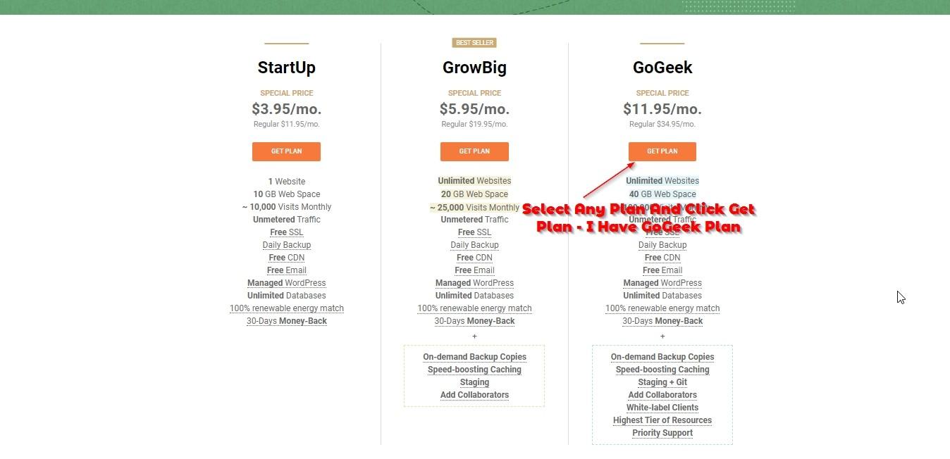 get gogeek plan siteground