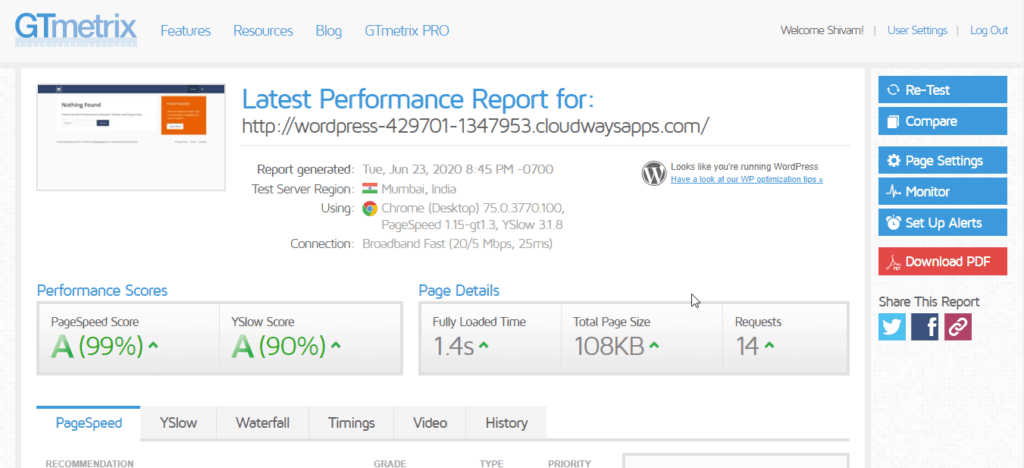 CLOUWAYS DEFAULT WORDPRESS SPEED