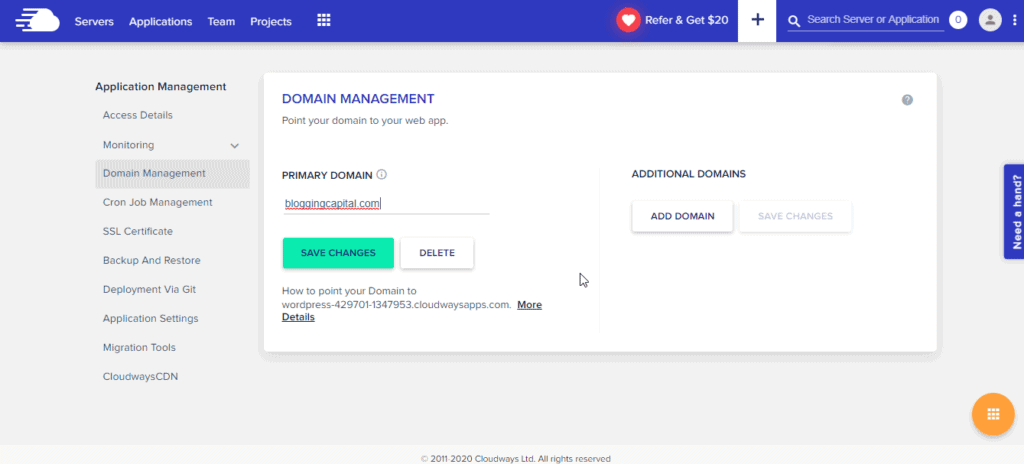 cloudways domain management
