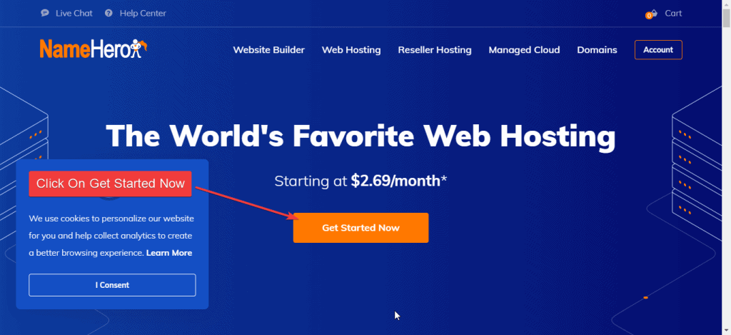Go to namehero and hit get started button to get hosting from namehero