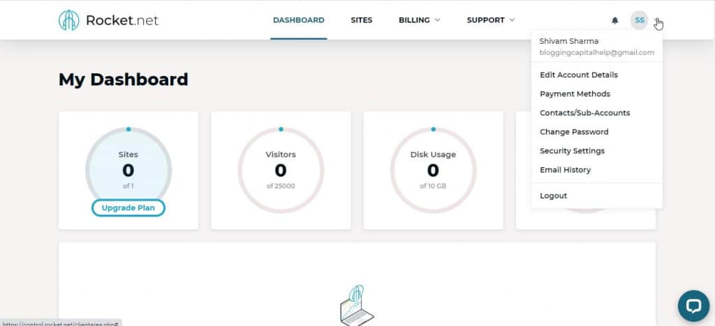 empty dashboard after signup rocket net review