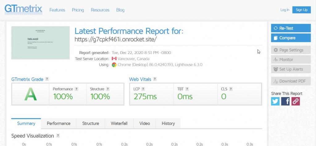 rocket net speed with default wordpress install