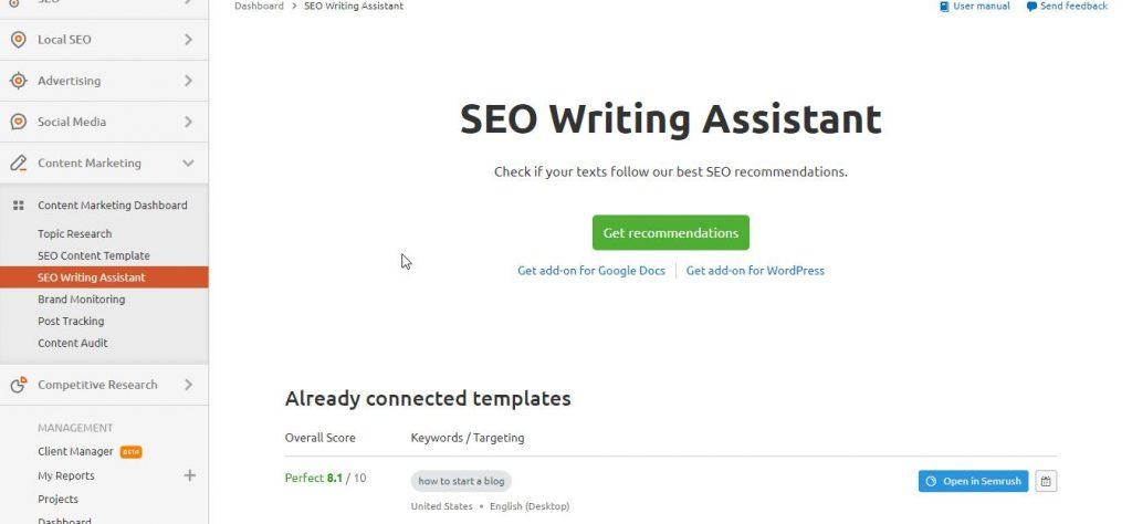 SEO writing assistant docs wordpress