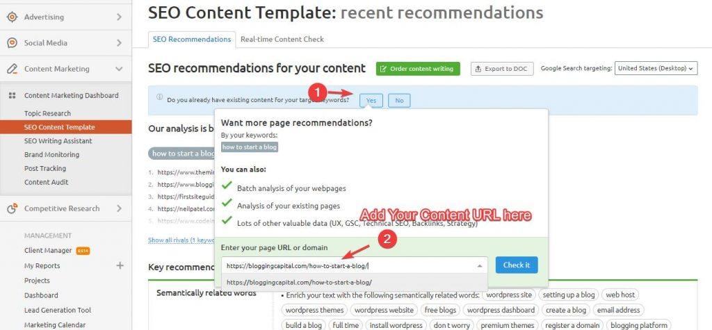 add your content url in seo content template