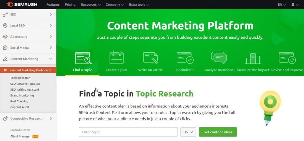 content marketing toolkit dashbord