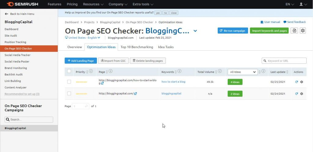 ideas by semrush on page tool