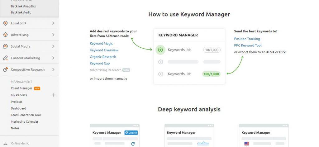 keyword manager