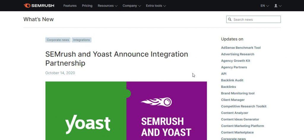semrush and yoast partenership