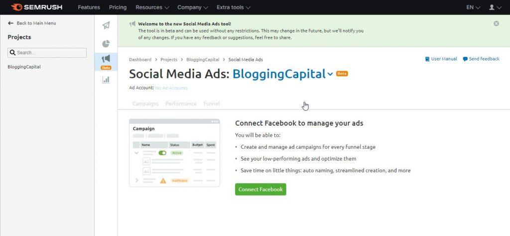 social media ads tool