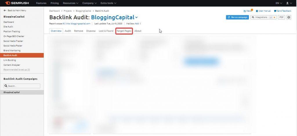 targeted pages backlink audit
