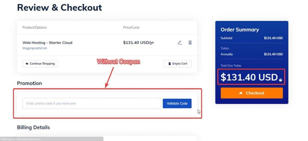 without coupon namehero price