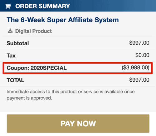 super affiliate system discount